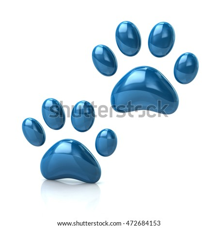 3d illustration of two cat's blue paws  isolated on white background