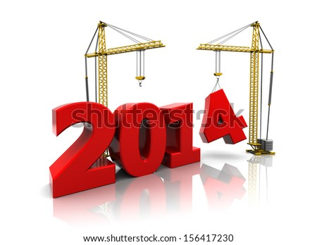 3d illustration of two cranes building new year 2014 sign - stock photo