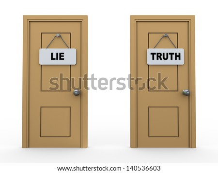 3d illustration of two doors with lie and truth sign board