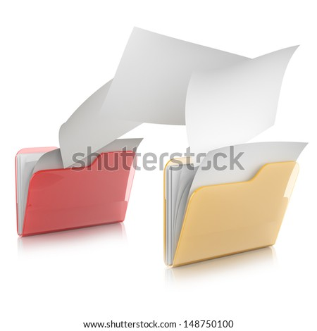 3D illustration of two  folders icons and files transfer  - stock photo