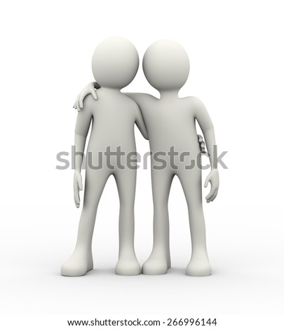 3d illustration of two friends standing next to an embrace. Concept of business relationship, friendship, partnership, teamwork, love. 3d human person character and white people