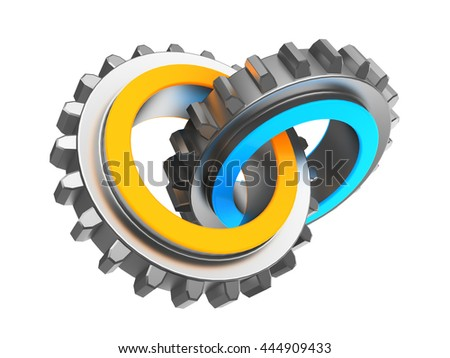 3d illustration of two gear wheels blue and orange