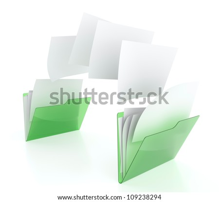 3D illustration of two green folder icons and files transfer - stock photo