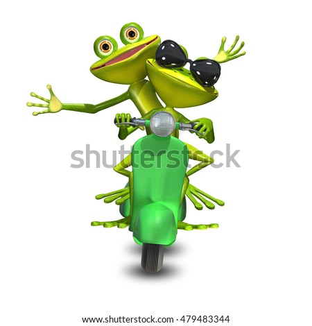 3D Illustration of two green frogs on a motor scooter