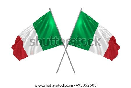 3d illustration of two Italy flags waving