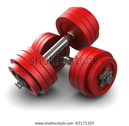 3d illustration of two red dumbbells over white background