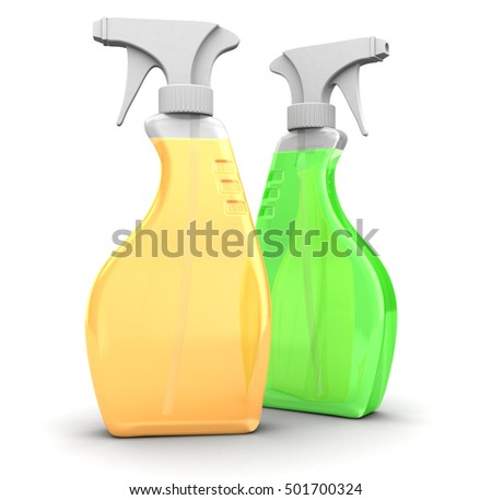 3d illustration of two spray bottles, different colors