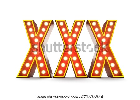 3D illustration of typical theater style letters spelling XXX over white background