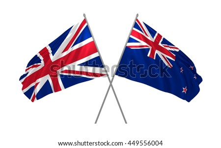 3d illustration of UK and New Zealand flags together waving in the wind