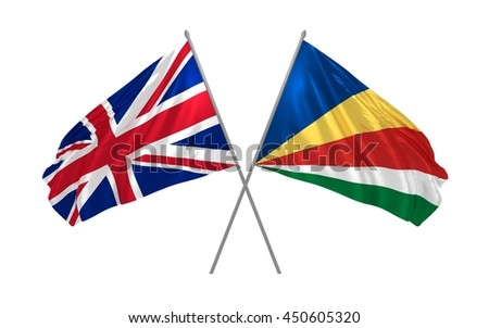 3d illustration of UK and Seychelles flags together waving in the wind