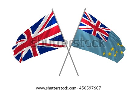 3d illustration of UK and Tuvalu flags together waving in the wind