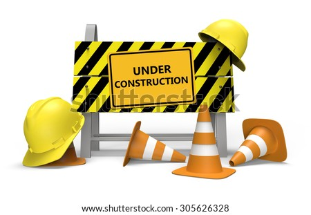 3d illustration of under construction barrier over white background
