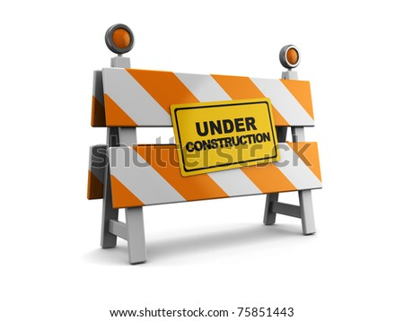 3d illustration of under construction barrier over white background - stock photo