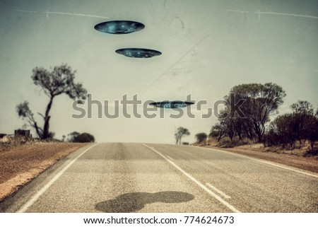 3d illustration of unidentified flying objects