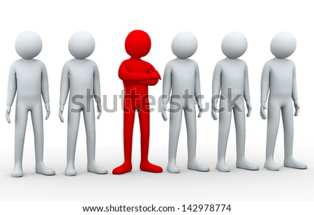 3d illustration of unique different person in the row of people.  3d rendering of human people character.