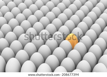 3d illustration of unique golden egg among white eggs. Concept of standing out from crowd - stock photo