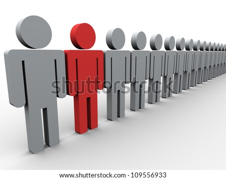 3d illustration of unique man. Concept of standing out from crowd