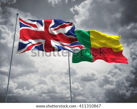 3D illustration of United Kingdom & Benin Flags are waving in the sky with dark clouds