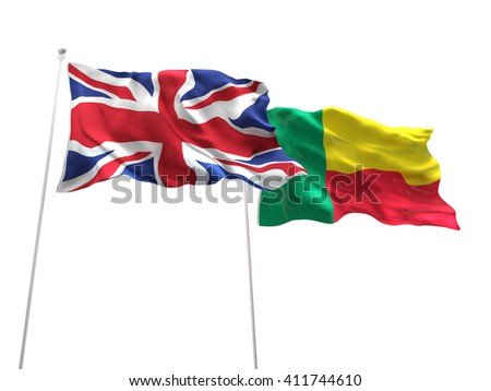 3D illustration of United Kingdom & Benin Flags are waving on the isolated white background