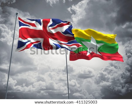 3D illustration of United Kingdom & Burma Flags are waving in the sky with dark clouds