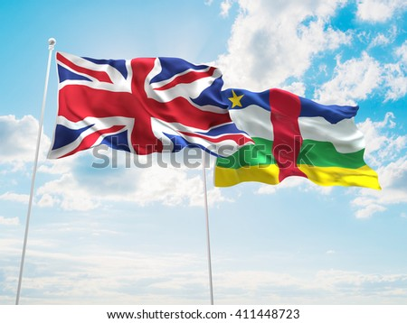 3D illustration of United Kingdom & Central African Republic Flags are waving in the sky