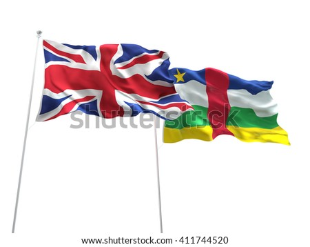 3D illustration of United Kingdom & Central African Republic Flags are waving on the isolated white background