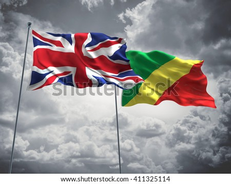 3D illustration of United Kingdom & Congo Flags are waving in the sky with dark clouds