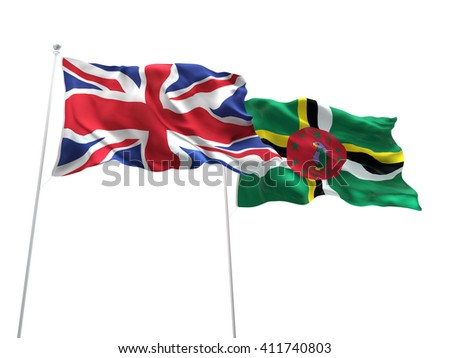 3D illustration of United Kingdom & Dominica Flags are waving on the isolated white background