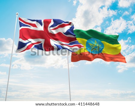 3D illustration of United Kingdom & Ethiopia Flags are waving in the sky - stock photo