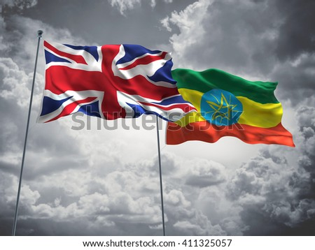 3D illustration of United Kingdom & Ethiopia Flags are waving in the sky with dark clouds