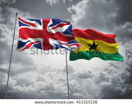 3D illustration of United Kingdom & Ghana Flags are waving in the sky with dark clouds