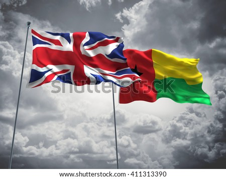 3D illustration of United Kingdom & Guinea Bissau Flags are waving in the sky with dark clouds