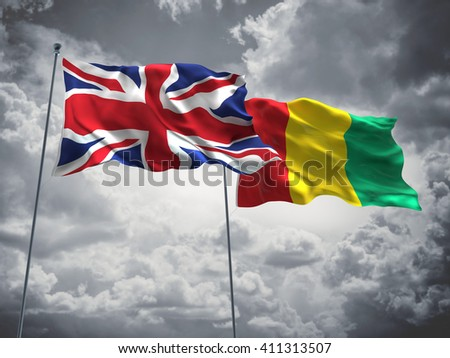 3D illustration of United Kingdom & Guinea Flags are waving in the sky with dark clouds