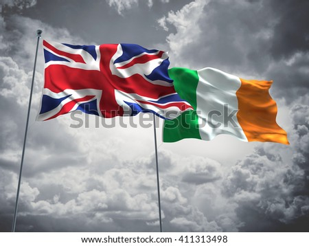 3D illustration of United Kingdom & Ireland Flags are waving in the sky with dark clouds