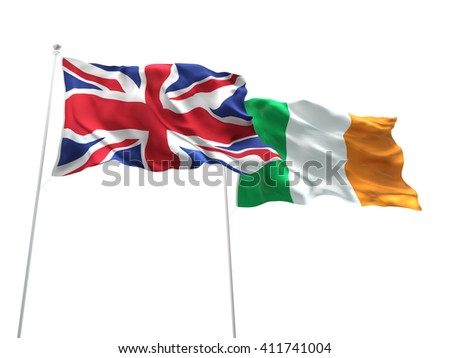 3D illustration of United Kingdom & Ireland Flags are waving on the isolated white background