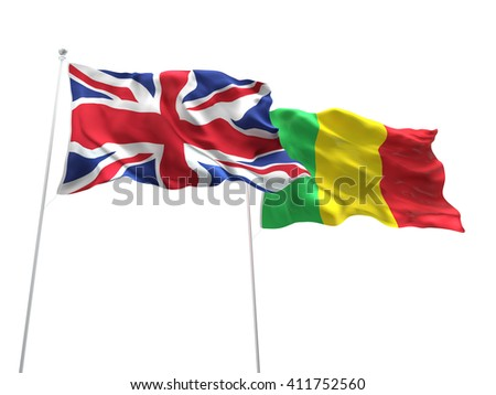 3D illustration of United Kingdom & Mali Flags are waving on the isolated white background