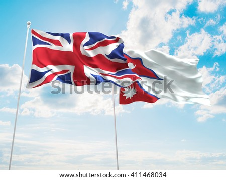3D illustration of United Kingdom & Nepal Flags are waving in the sky - stock photo