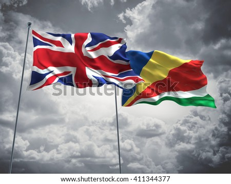 3D illustration of United Kingdom & Seychelles Flags are waving in the sky with dark clouds