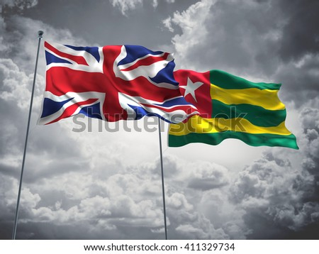 3D illustration of United Kingdom & Togo Flags are waving in the sky with dark clouds