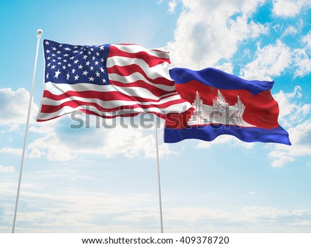 3D illustration of United States of America & Cambodia Flags are waving in the sky