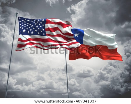 3D illustration of United States of America & Chile Flags are waving in the sky with dark clouds