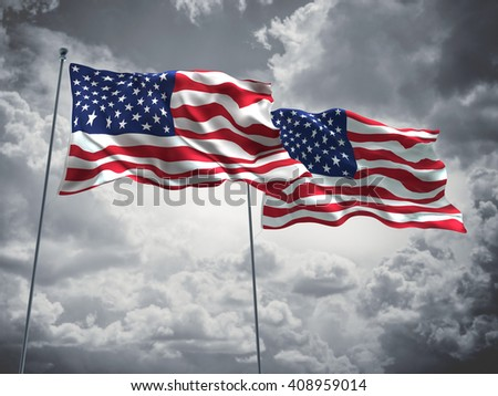 3D illustration of United States of America Flags are waving in the sky with dark clouds