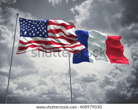3D illustration of United States of America & France Flags are waving in the sky with dark clouds  - stock photo