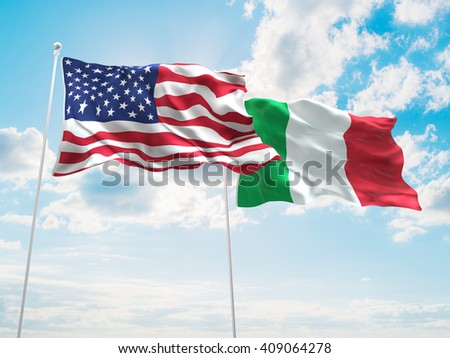 3D illustration of United States of America & Italy Flags are waving in the sky - stock photo
