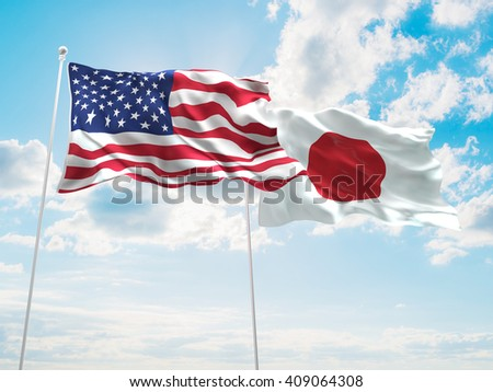 3D illustration of United States of America & Japan Flags are waving in the sky - stock photo