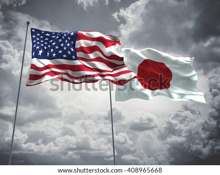 3D illustration of United States of America & Japan Flags are waving in the sky with dark clouds  - stock photo