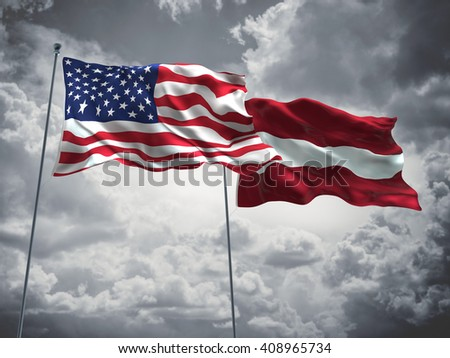 3D illustration of United States of America & Latvia Flags are waving in the sky with dark clouds