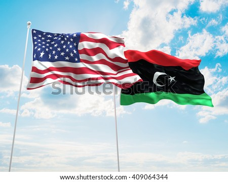 3D illustration of United States of America & Libya Flags are waving in the sky - stock photo