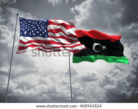 3D illustration of United States of America & Libya Flags are waving in the sky with dark clouds  - stock photo