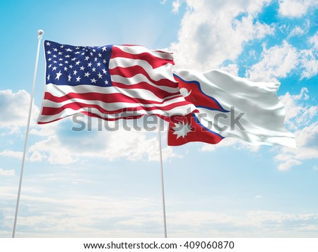 3D illustration of United States of America & Nepal Flags are waving in the sky - stock photo